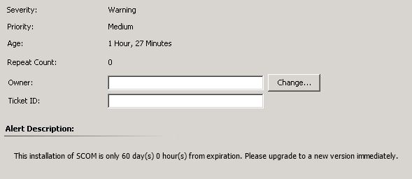 Troubleshooting: Product Evaluation is expiring in 60 days (SCOM