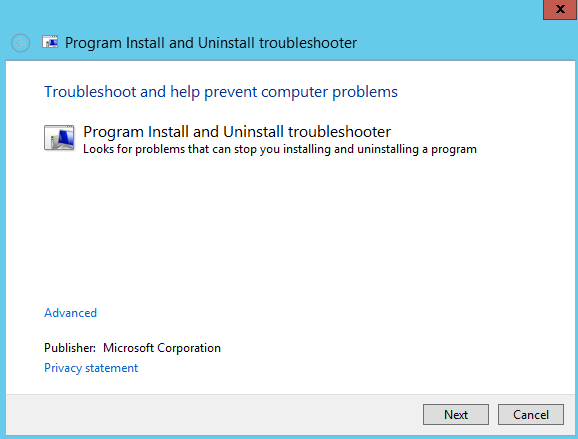 Screenshot of Program Install and Uninstall Troubleshooter interface. Looks for problems that can stop you installing and unistalling a program. Option to click Next or Cancel.