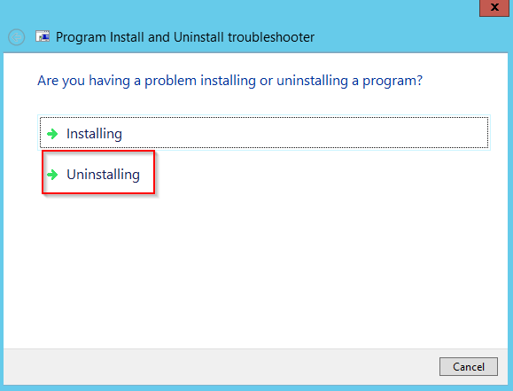 "Screenshot: Text in window reads ""Are you having a problem installing or uninstalling a program. There are two buttons one for each option. Uninstalling is highlighted with a Red Rectangle."