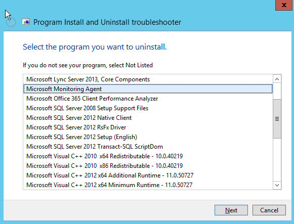 Screenshot: Program and Install troubleshooter, list of installed applications. Microsoft Monitoring Agent is selected. Option for Next or Cancel.