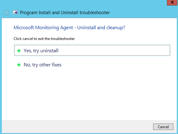 Screenshot: Program Install and Uninstall Troubleshooter. Two options: Try Uninstall, or no try other fixes. Try uninstall is highlighted.