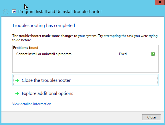 Screenshot: Troubleshooting has completed. Close the troubleshooter is selected.